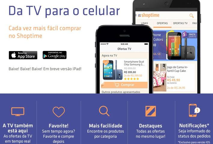 App de celular do Shoptime